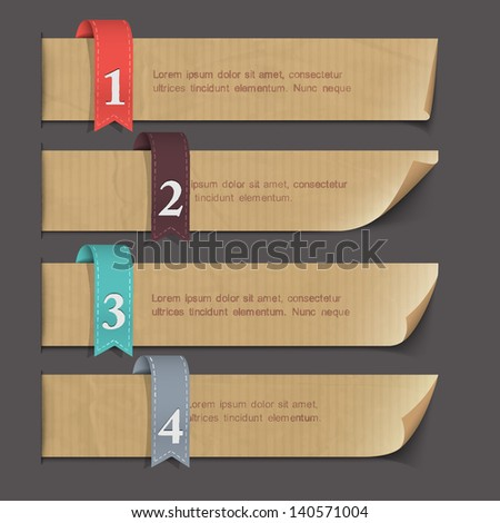 Paper numbered banners. Vector set