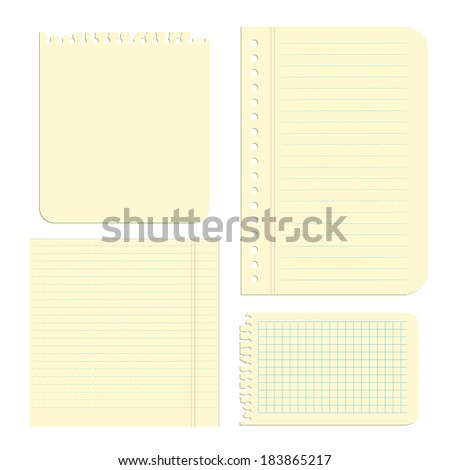 Paper objects set, vector illustration