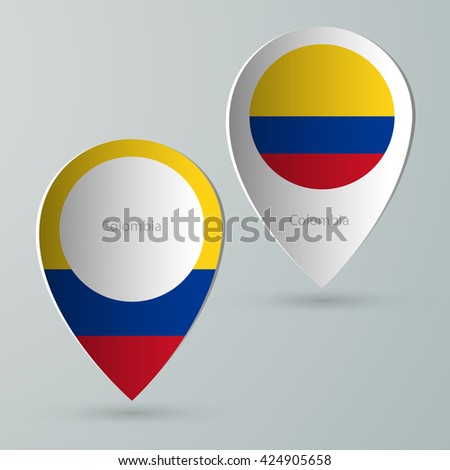 paper of map marker for maps and navigators colombia