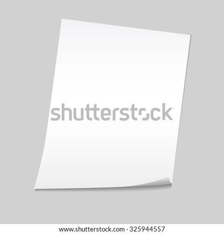 Paper on a gray background mock up. Vector illustration