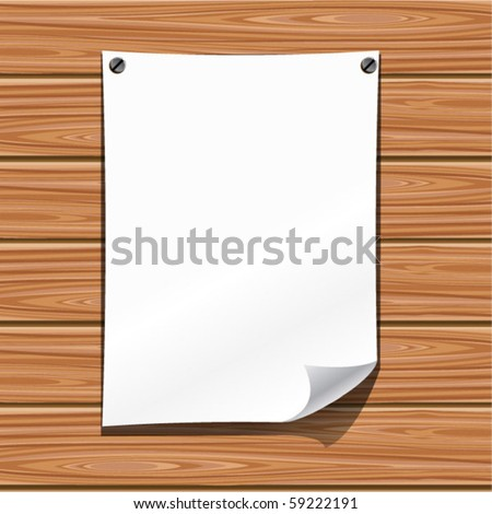 Paper on a wooden wall. Vector - stock vector