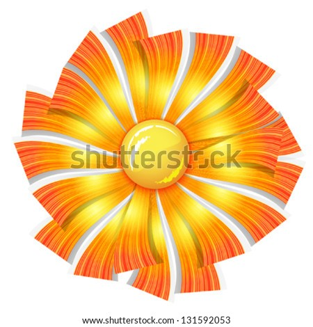 paper orange summer sun, isolated on white background vector