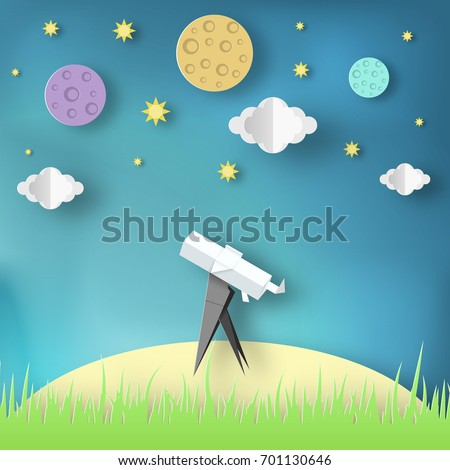 Paper Origami Abstract Concept Applique Scene With Cut Telescope And Stars Observation Through A