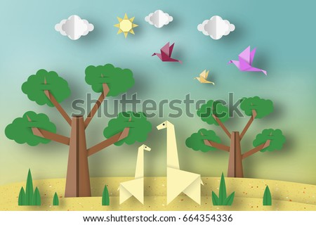Paper Origami Concept Applique Scene With Cut Giraffes Birds Tree Clouds