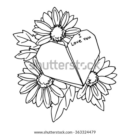 Paper Origami Heart With Love Message And Flowers Contour Image For Design Illustration