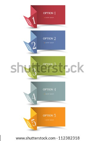 Paper origami numbered banners .Vector design template - stock vector