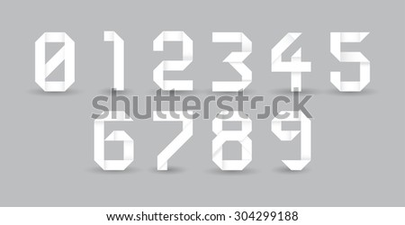 Paper origami numbers, illustration - stock vector
