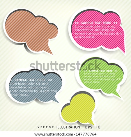 Paper origami speech bubble. Colored blank for text - stock vector