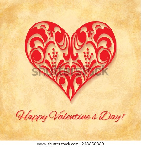 Paper Ornate Heart on vintage background. Happy Valentines Day Greeting card. Suitable for various designs, invitation and scrapbook. Vector illustration EPS 10 - stock vector