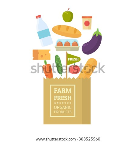 Paper package with fresh healthy produce. Organic products from the farm. Vegetables, bread, dairy products and eggs. Vector flat design illustration - stock vector