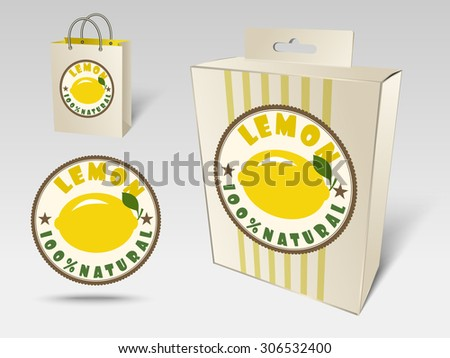 Paper packaging and labels for fruit, lemon - stock vector