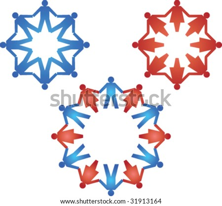 Paper people circle pattern - stock vector