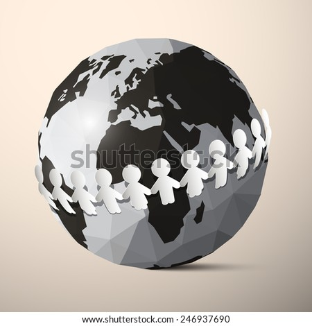 Paper People Holding Hands around Globe - Earth Vector - stock vector