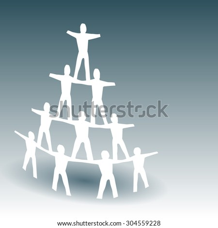 Paper People Pyramid with Space for Type - stock vector