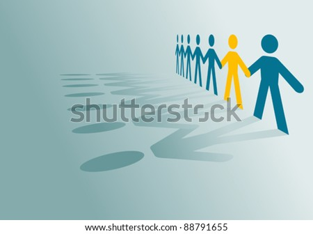 Paper peoples community for communication or partnership concept design. Jpeg version also available in gallery - stock vector