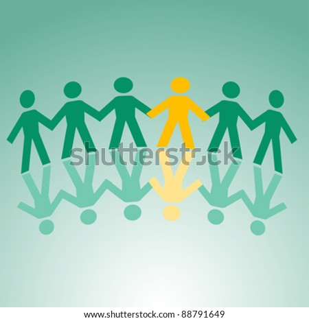 Paper peoples togetherness for communication or friendship concept design. Jpeg version also available in gallery - stock vector