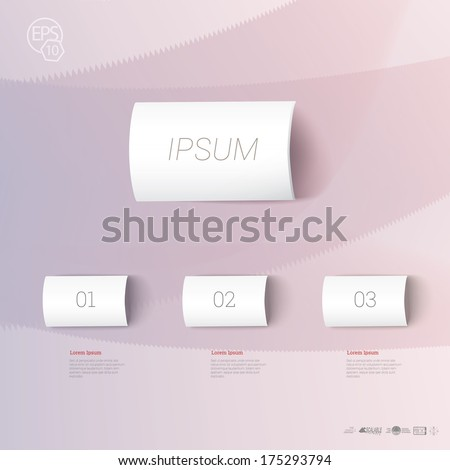 Paper pieces - labels  menu or chart  with backgrop amd artistic background - stock vector