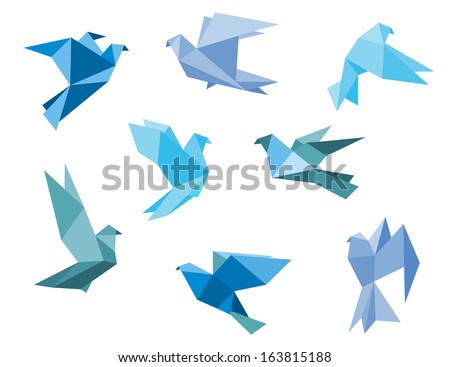 Paper pigeons and doves set in origami style - stock vector