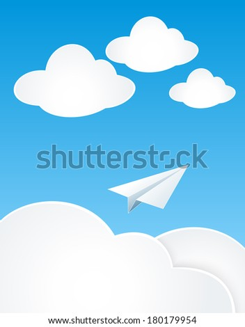 Paper Plan with clouds in sky for concept dream or travel