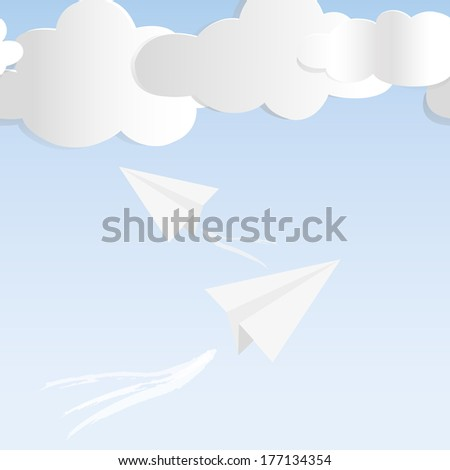Paper plane against sky with clouds. Seamless background illustration.