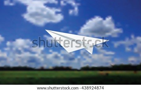 Paper plane and cloudy background vector illustration.