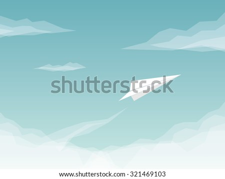 Paper plane background with airplane flying above clouds. Business symbol of success and freedom. Eps10 vector illustration.