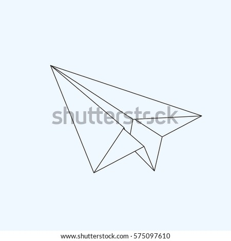 Paper plane flat line icon isolated on light blue background. Contour symbol of a papercraft origami airplane. Vector eps8 linear illustration.