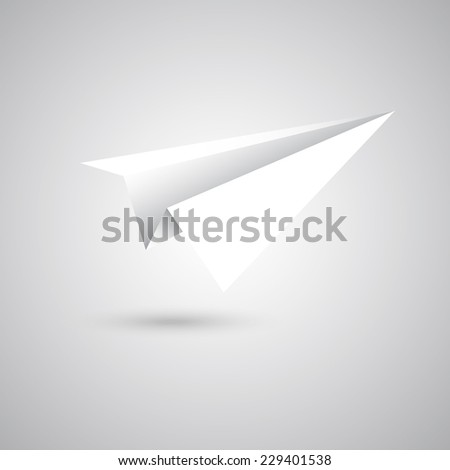 Paper plane fly on gray background, stock vector - stock vector