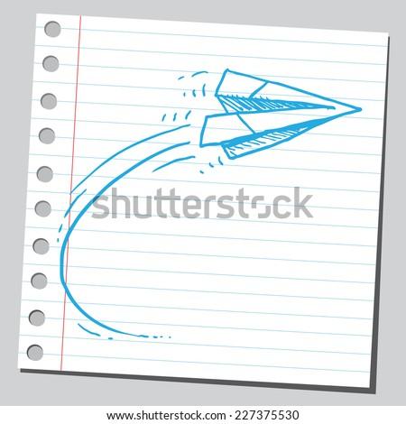 Paper plane flying - stock vector