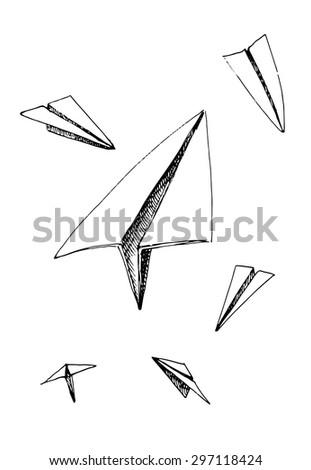 Paper plane. Hand drawn vector illustration. - stock vector