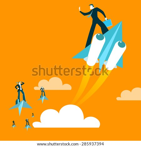 Paper plane. Haste. Victory over parties. Boost acceleration. Vector illustration - stock vector