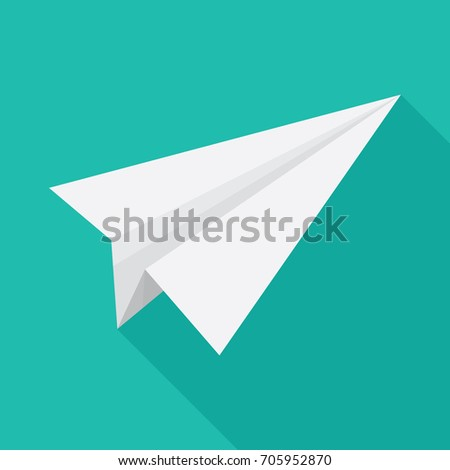 Paper plane icon in flat design