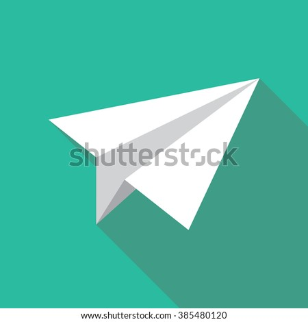 Paper plane icon in flat style with long shadow. Origami papercraft airplane symbol. EPS10 vector illustration.