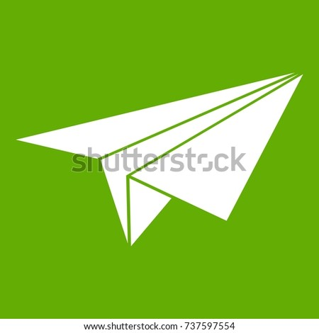 Paper plane icon white isolated on green background. Vector illustration