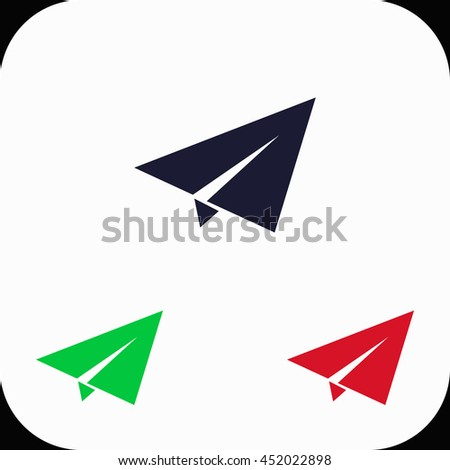 Paper plane Illustration set. Blue, green, red icon.