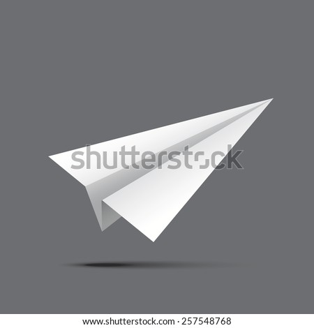 Paper Plane isolated on grey background. Vector illustration