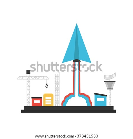 paper plane launch to sky from base, innovation concept, isolated on white background - stock vector