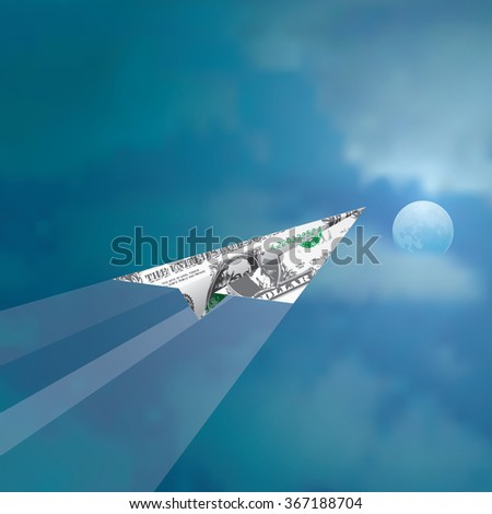 paper plane of one dollar fly in cloudy moonlight sky, abstract vector illustration - stock vector