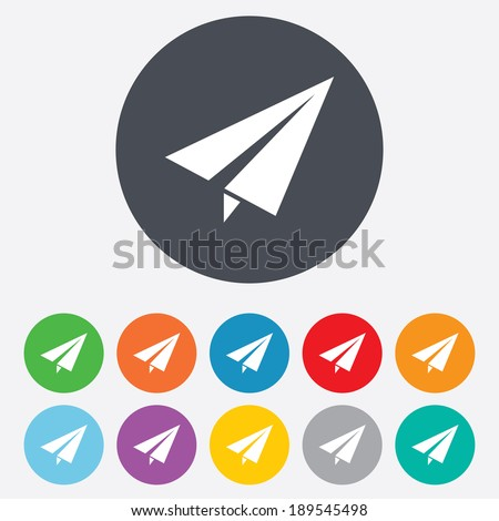 Paper Plane sign. Airplane symbol. Travel icon. Flight flat label. Round colourful 11 buttons. Vector - stock vector