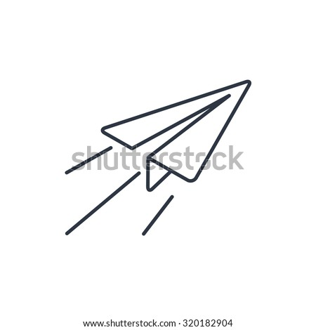Paper Plane sign. Airplane symbol. Travel outline icon.  - stock vector