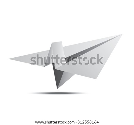 paper plane with shadow