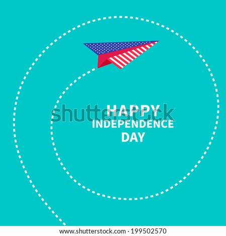 Paper plane with spiral. Dash line. Happy independence day United states of America. 4th of July. Vector illustration - stock vector