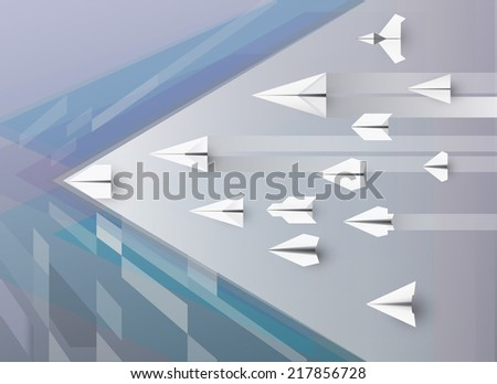 Paper planes, Abstract of vintage art background ,Business and art , Innovation, vision of economic - stock vector