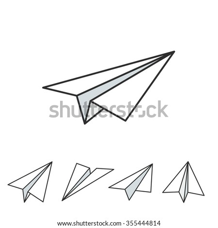 Paper planes icon set in simple flat style. Vector illustration.