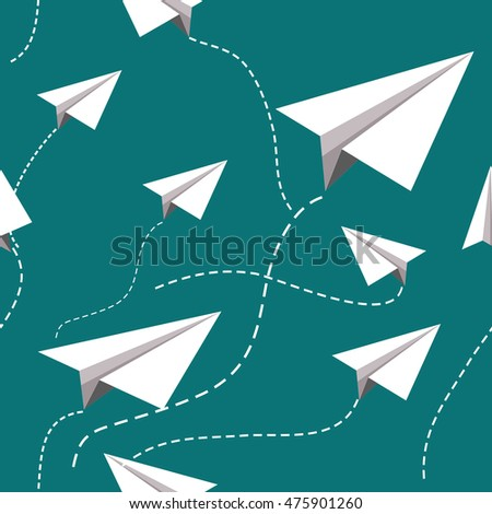Paper planes pattern. Seamless paper planes vector background.