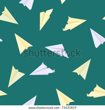 Paper planes seamless texture 1. Vector. - stock vector