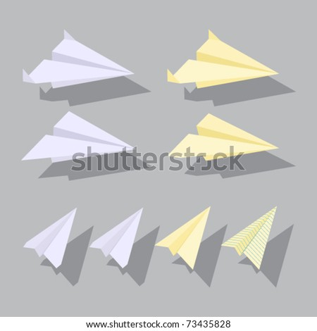 Paper planes set. Vector illustration. - stock vector
