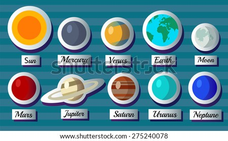 Paper planets sun moon and other. vector illustration - stock vector