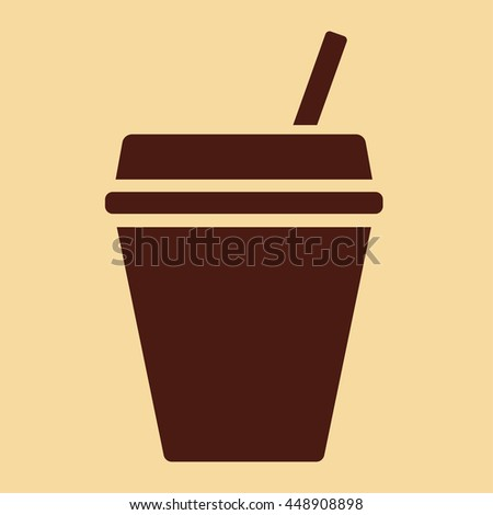 paper plastic coffee glass drink cup with straw icon brown on creme backround