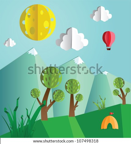 Paper pop up beautiful landscape - snow peaks, trees and tourist's tent. - stock vector